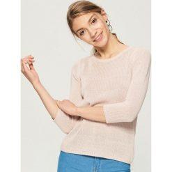 Swetry klasyczne damskie: Sweter basic - Różowy
