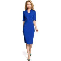 SHERRY Sukienka ołówkowa z dekoltem szalowym - chabrowa. Brązowe sukienki balowe marki Moe, l, z bawełny. Za 139,00 zł.