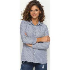Granatowa Koszula Infinity. Szare koszule damskie marki Born2be, m, w paski, z wykładanym kołnierzem, z długim rękawem. Za 99,99 zł.