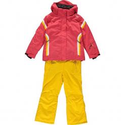 2-częściowy zestaw narciarski w kolorze czerwono-żółtym. Czerwone kurtki dziewczęce przeciwdeszczowe CMP Kids, z haftami, z materiału. W wyprzedaży za 325,95 zł.