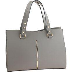 Torebki klasyczne damskie: Skórzana torebka w kolorze szarym – 36 x 27 x 14 cm