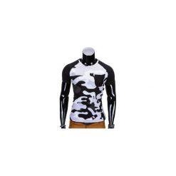 T-shirty męskie: T-SHIRT MĘSKI BEZ NADRUKU S811 – BIAŁY/MORO