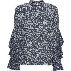 Bluzka z falbanami bonprix ciemnoniebiesko-biały w kropki. Białe bluzki longsleeves marki bonprix, w kropki, ze stójką. Za 89,99 zł.