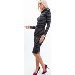 Sukienki: Sukienka dekolt carmen ciemnoszara 6515