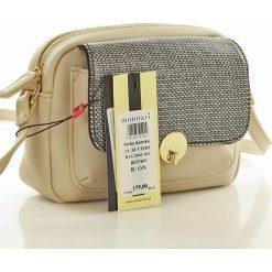 Niewielka torebka listonoszka beżowa ISLA. Brązowe torby na ramię męskie Monnari, w paski, ze skóry ekologicznej, małe. Za 129,00 zł.