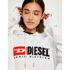 Diesel - Bluza. Szare bluzy z kapturem damskie Diesel, l, z aplikacjami, z bawełny. W wyprzedaży za 599,90 zł.