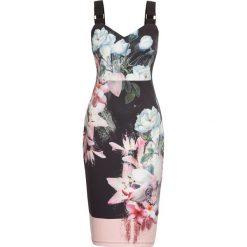 Sukienki balowe: Sukienka na ramiączkach bonprix czarno-lila-jasnoróżowy