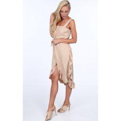 Sukienka z falbanami wiązana beżowa 22369. Brązowe sukienki marki Fasardi. Za 69,00 zł.