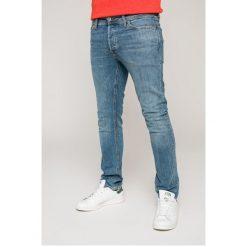Jack & Jones - Jeansy Tim. Niebieskie jeansy męskie slim Jack & Jones, z bawełny. W wyprzedaży za 139,90 zł.