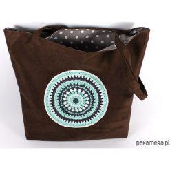 Szoperka torba codzienna z mandalą. Brązowe shopper bag damskie Pakamera, dziergany. Za 160,00 zł.