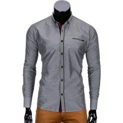 KOSZULA MĘSKA Z DŁUGIM RĘKAWEM K322 - SZARA. Szare koszule męskie na spinki Ombre Clothing, m, z bawełny, z kontrastowym kołnierzykiem, z długim rękawem. Za 59,00 zł.