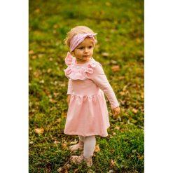 Sukienka z pomponikami Melanie Pink. Różowe sukienki dziewczęce marki Pakamera, w koronkowe wzory, z bawełny. Za 135,00 zł.