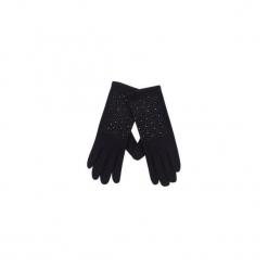 Rękawiczki damskie gładkie, z kryształkami. Czarne rękawiczki damskie TXM. Za 14,99 zł.