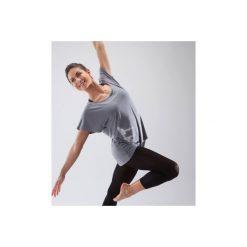 Koszulka do tańca krótki rękaw damska. Szare bluzki sportowe damskie marki DOMYOS, z elastanu, z dekoltem na plecach. Za 49,99 zł.