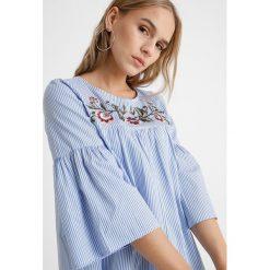 Bluzki asymetryczne: Dorothy Perkins Petite STRIPE EMBROIDERED YOKE SMOCK  Bluzka blue