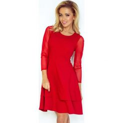 Czerwona Sukienka Wizytowa Rozkloszowana z Transparentnymi Rękawami. Czerwone sukienki koktajlowe marki Molly.pl, na imprezę, uniwersalny, w paski, z falbankami, dopasowane. Za 188,90 zł.