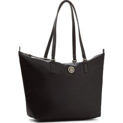 Torebka TOMMY HILFIGER - Poppy Tote AW0AW04302  002. Czarne torebki klasyczne damskie marki TOMMY HILFIGER, z materiału, duże. Za 379,00 zł.