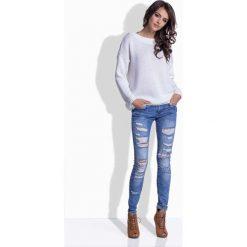 Swetry damskie: Biały Oversizowy Sweter z Satynową Wstążką na Plecach