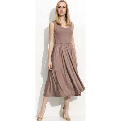 Sukienki: Cappuccino Sukienka Midi na Ramiączkach z Szerokim Dołem