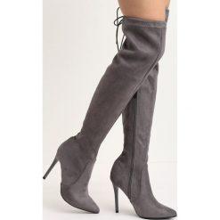 Szare Kozaki Ohio. Szare buty zimowe damskie marki Born2be, ze szpiczastym noskiem, na wysokim obcasie. Za 169,99 zł.