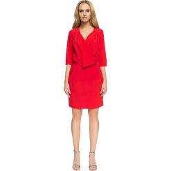 Sukienki: Czerwona Kopertowa Sukienka Wizytowa z Rękawami do Łokcia
