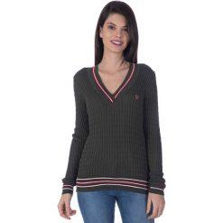 """Swetry klasyczne damskie: Sweter """"Ball"""" w kolorze ciemnozielonym"""