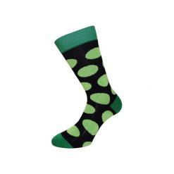 Skarpetki damskie: Czarne skarpety w zielone grochy