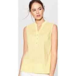 Bluzki, topy, tuniki: Top w kratkę – Żółty