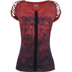 Rock Rebel by EMP Shreds Koszulka damska niebieski/czerwony. Czerwone bluzki damskie Rock Rebel by EMP, xxl, z nadrukiem, rockowe, z okrągłym kołnierzem. Za 69,90 zł.