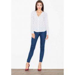 Bluzka z Dekoltem w Szpic z Printem -Wzór 26. Brązowe bluzki koszulowe Molly.pl, l, z tkaniny, biznesowe. Za 119,90 zł.