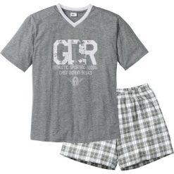 Piżama z krótkimi spodenkami bonprix szary melanż-biały. Białe piżamy męskie marki B'TWIN, m, z elastanu, z krótkim rękawem. Za 44,99 zł.