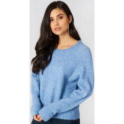 Swetry klasyczne damskie: Samsoe & Samsoe Krótki sweter z okrągłym dekoltem Nor – Blue