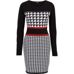 Sukienka dzianinowa bonprix czerwono-czarno-biały. Białe długie sukienki bonprix, z dzianiny, retro, z długim rękawem. Za 109,99 zł.
