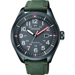 ZEGAREK CITIZEN Military AW5005-39H. Szare, analogowe zegarki męskie CITIZEN, sztuczne. Za 680,00 zł.
