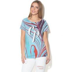 Colour Pleasure Koszulka damska CP-034  284 niebiesko-czerwono-różowa r. XXXL-XXXXL. Fioletowe bluzki damskie marki Colour pleasure, uniwersalny. Za 70,35 zł.