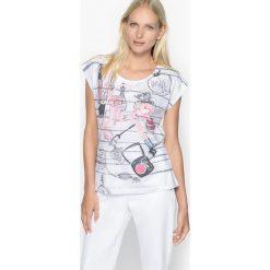 Koszulka z nadrukiem z krótkimi rękawami. Białe t-shirty damskie Anne weyburn, z nadrukiem, z bawełny, z okrągłym kołnierzem. Za 67,58 zł.