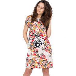Sukienki hiszpanki: Sukienka w kwiaty z krótkim rękawem BIALCON