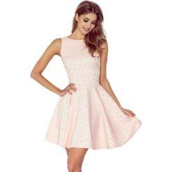 Sukienki: Veronica Sukienka KOŁO – dekolt łódka – ŻAKARD KÓŁECZKA – BRZOSKWINIA