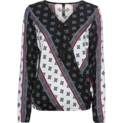 Bluzka bonprix czarno-biało-czerwono-dymny szary wzorzysty. Czarne bluzki z odkrytymi ramionami marki bonprix, z nadrukiem, z dekoltem w serek. Za 109,99 zł.