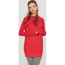 Kardigany damskie: Długi sweter – Pomarańczo