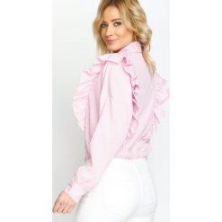 Różowa Koszula Double Frill. Fioletowe koszule damskie marki Reserved, z falbankami. Za 79,99 zł.