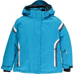Kurtka narciarska w kolorze niebieskim. Niebieskie kurtki dziewczęce przeciwdeszczowe marki CMP Kids, z materiału. W wyprzedaży za 207,95 zł.