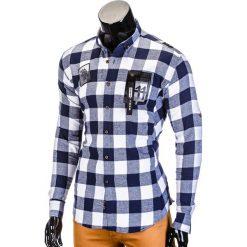KOSZULA MĘSKA W KRATĘ Z DŁUGIM RĘKAWEM K369 - GRANATOWA. Niebieskie koszule męskie na spinki marki Ombre Clothing, m, z kontrastowym kołnierzykiem, z długim rękawem. Za 39,00 zł.