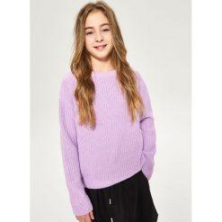 Swetry damskie: Sweter ze sznurowaniem na plecach - Fioletowy