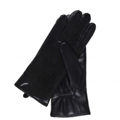 SKÓRZANE BŁYSZCZĄCE RĘKAWICZKI. Szare rękawiczki damskie marki Top Secret, w ażurowe wzory. Za 129,99 zł.