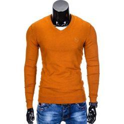 Swetry klasyczne męskie: SWETER MĘSKI E74 – RUDY