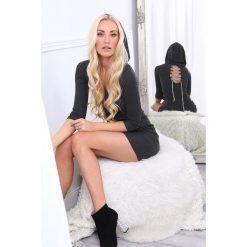 Sukienka z wiązaniem i kapturem ciemnoszara 62671. Czarne sukienki marki Sinsay, l, z kapturem. Za 61,00 zł.
