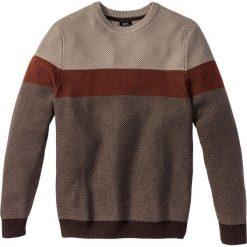 Swetry klasyczne męskie: Sweter z okrągłym dekoltem Regular Fit bonprix beżowo-pomarańczowy w paski