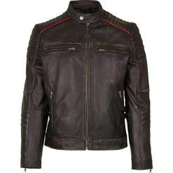 Kurtki męskie bomber: Skórzana kurtka w kolorze czarno-brązowym