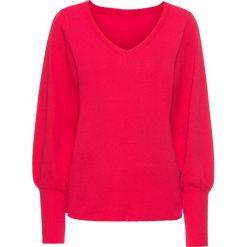 Swetry klasyczne damskie: Sweter z balonowymi rękawami bonprix czerwień granatu